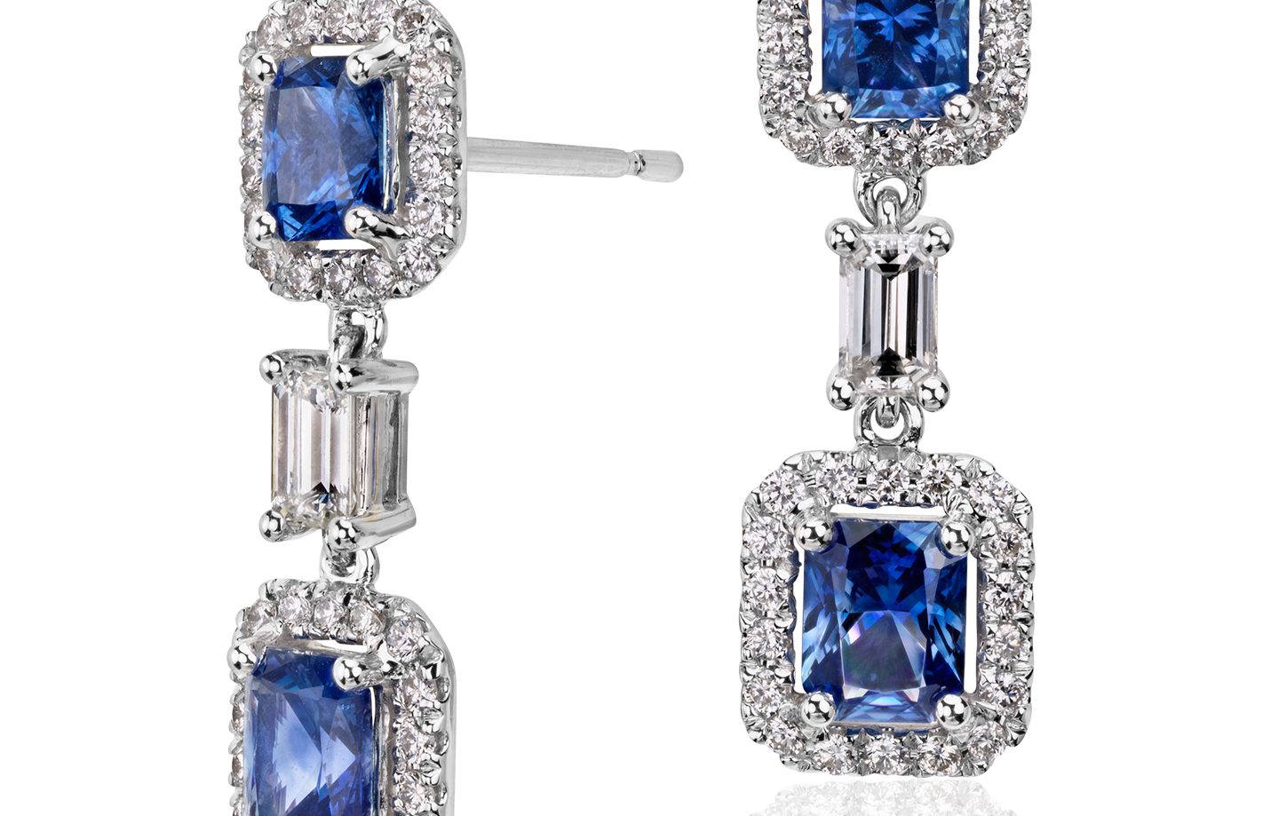 Sapphire and Diamond Halo Earrings in 14k White Gold (5x4mm)