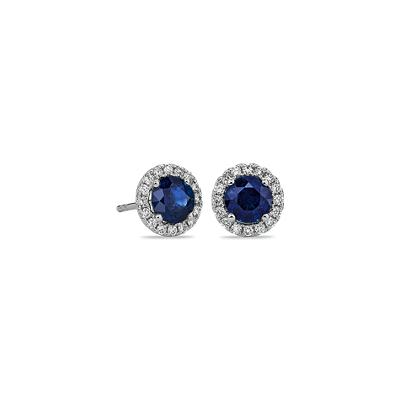 Boucles d'oreilles diamants sertis micro-pavé et saphir bleu en or blanc 18carats (5mm)