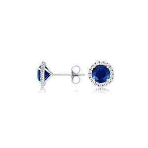 Micro Pavé Diamond and Sapphire Earrings in 18k White Gold (6 mm)
