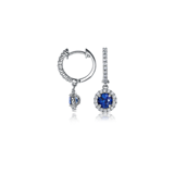 Sapphire and Diamond Micropavé Drop Earrings in 18k White Gold (5mm)