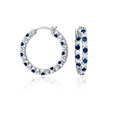Sapphire and Diamond Hoop Earrings in 18k White Gold