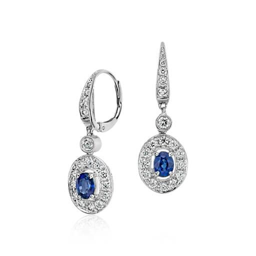 Sapphire and Diamond Dangle Earrings in 18k White Gold (6x4mm)