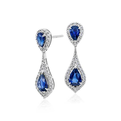 Sapphire and Diamond Halo Drop Earrings in 18k White Gold