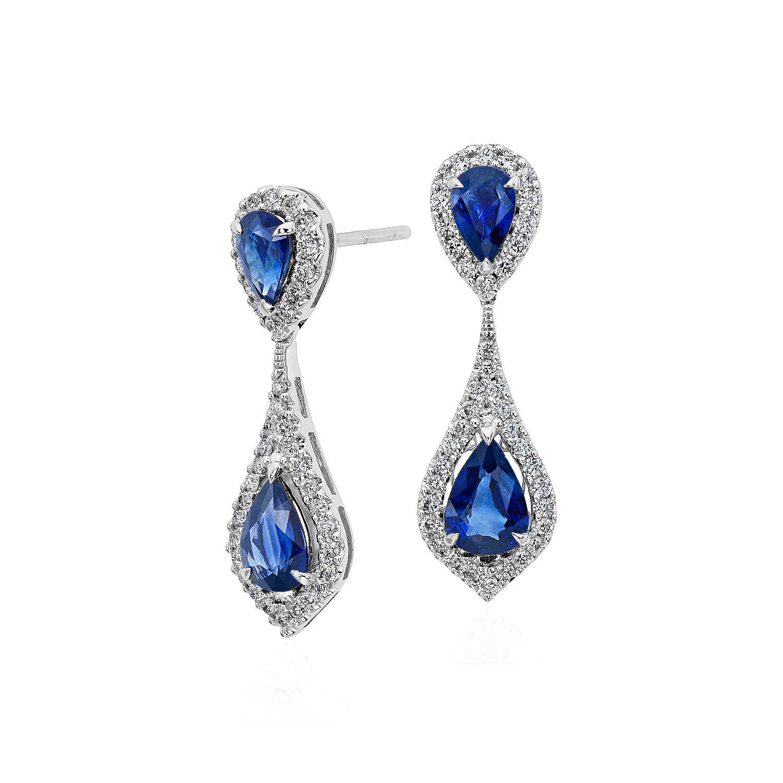 Aretes de halo de diamantes y  y zafiros en oro blanco de 18k (7x5mm)