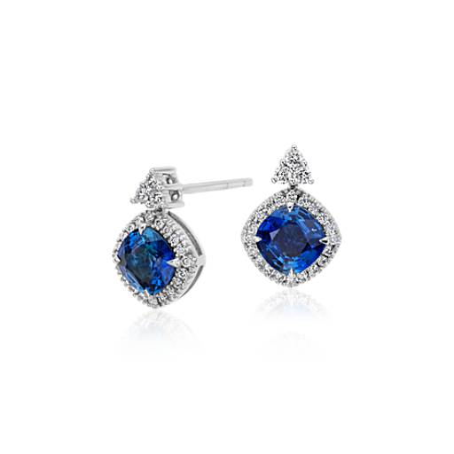 Cushion Cut Sapphire with Halo Diamond Dangle Earrings in 18k White Gold (6mm)