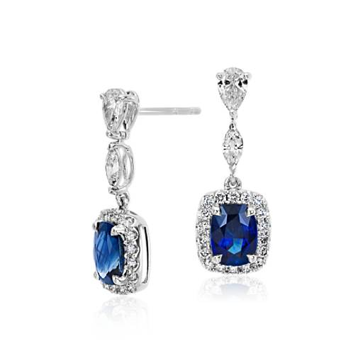 Cushion Sapphire and Halo Diamond Dangle Earrings in 18k White Gold (7.5x5.5mm)
