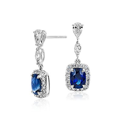 Cushion Sapphire and Halo Diamond Dangle Earrings in 18k White Gold (2.5 ct. tw. centres)