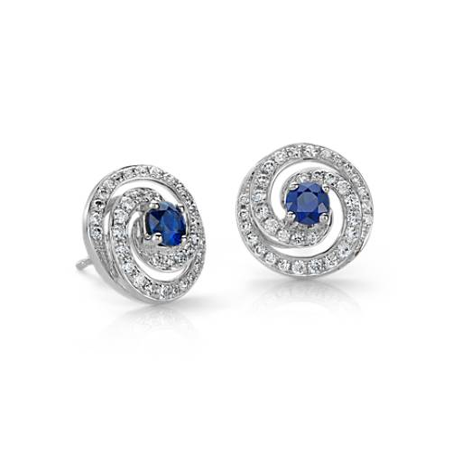 Sapphire and Diamond Swirl Earrings in 18k White Gold