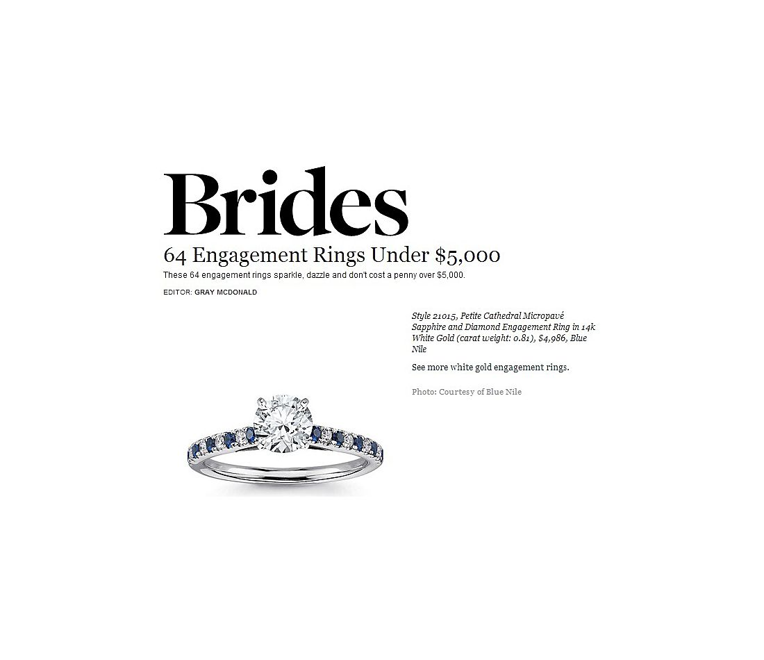 Petite Cathedral Micropavé Sapphire and Diamond Engagement Ring featured in Brides.com