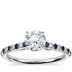 Petite Cathedral Micropavé Sapphire and Diamond Engagement Ring in 14k White Gold