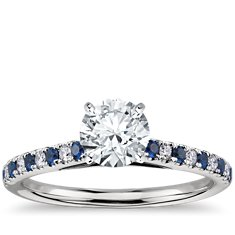 Micropavé Sapphire and Diamond Petite Cathedral Engagement Ring in Platinum