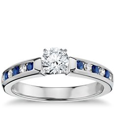 Channel Set Sapphire and Diamond Engagement Ring in 18k White Gold (1/6 ct. tw.)