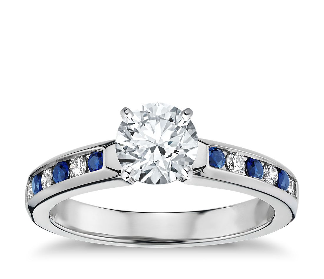 Sapphire Wedding Ring Sets Channel Set Sapphire And Diamond Engagement Ring In 18k White Gold 1