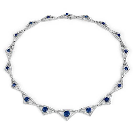 Sapphire and Diamond Statement Necklace in Platinum