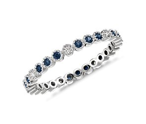 Sapphire and Diamond Eternity Ring in 14k White Gold
