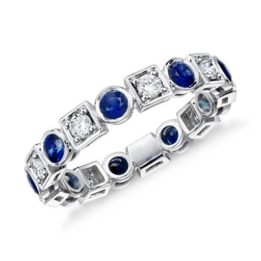 NEW Deco Sapphire and Diamond Eternity Ring in 18k White Gold