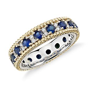 Sapphire and Diamond Eternity Ring in 18k Yellow and White Gold
