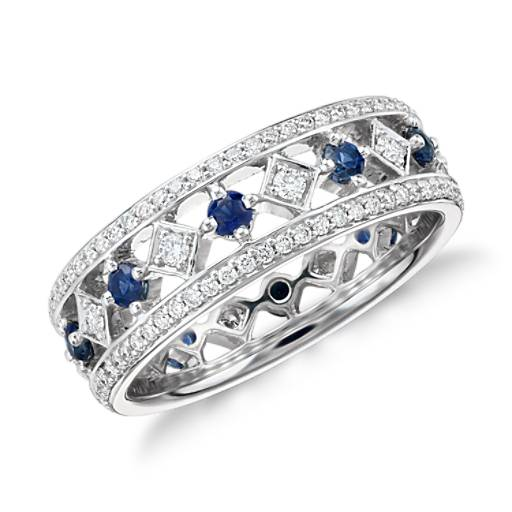 NEW Gala Sapphire and Diamond Eternity Ring in 18k White Gold