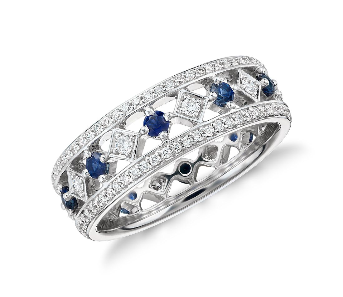 gala sapphire and eternity ring in 18k white gold