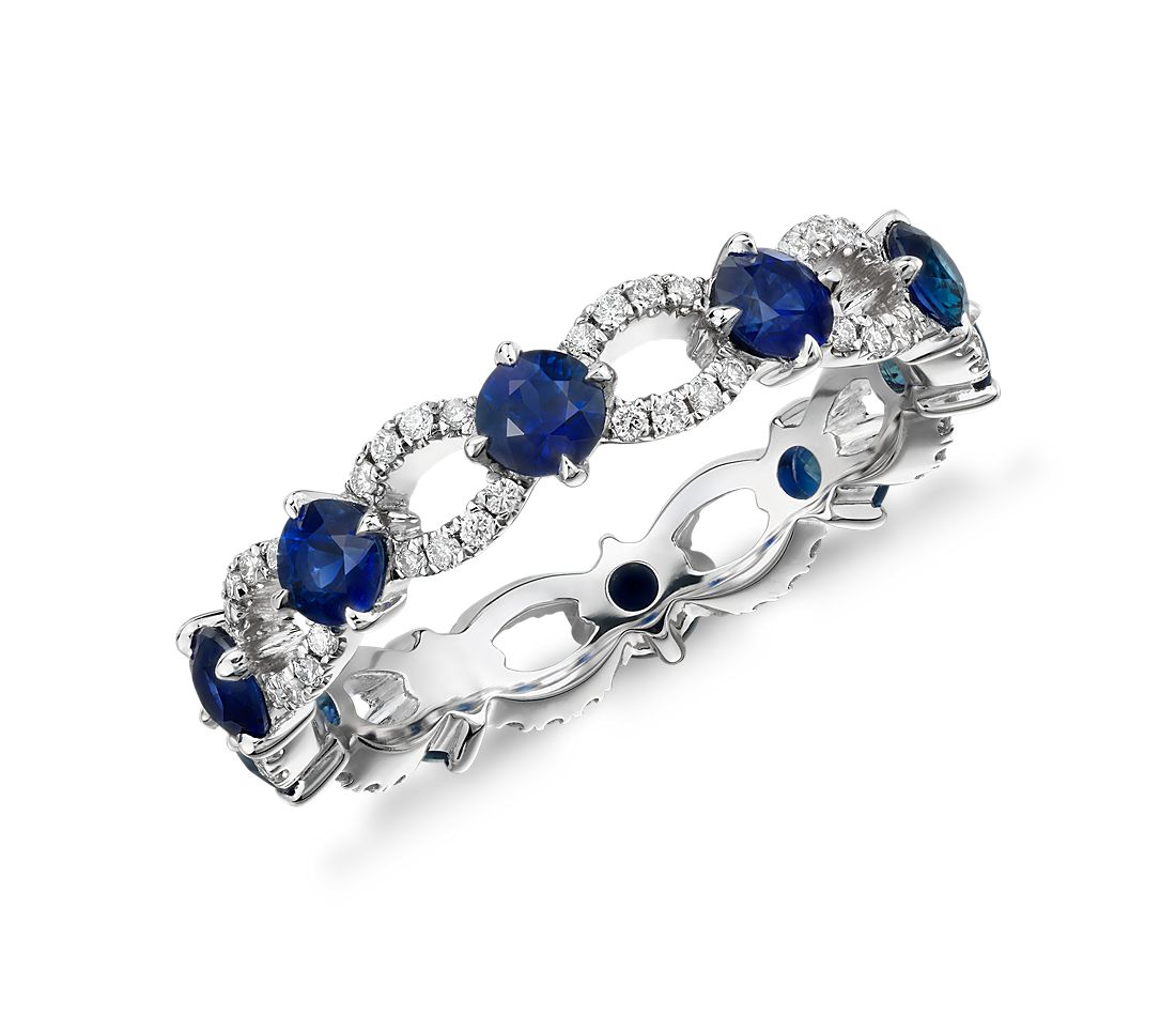 Sapphire and Diamond Ellipse Eternity Ring in 18k White Gold