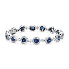 Oval, Pear and Heart-Shaped Sapphire and Diamond Halo Bracelet in 18k White Gold