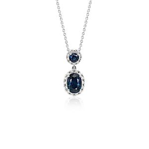 NEW Sapphire and Diamond Halo Drop Pendant in 14k White Gold
