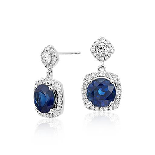 Sapphire and Diamond Drop Cushion Halo Earrings in 18k White Gold (4.81 ct. tw. centers)