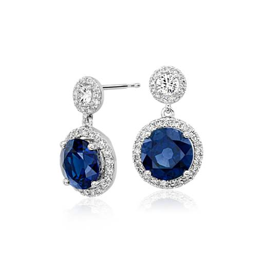 NEW Sapphire and Diamond Drop Halo Earrings in 18k White Gold (5.62 ct. tw. centers)