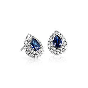 NOUVEAU Boucles d'oreilles double halo diamant et saphir bleu en or blanc 18carats (6x4mm)