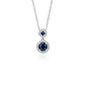 Pendentif halo de diamants et saphir en or blanc 14carats (5mm)