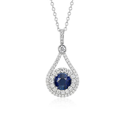 NEW Sapphire and Diamond Halo Drop Pendant in 18k White Gold (3.04 ct. center)