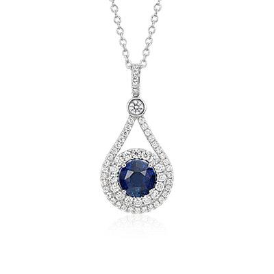 NEW Sapphire and Diamond Halo Drop Pendant in 18k White Gold (3.04 ct. center)