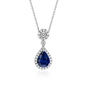 NEW Sapphire and Diamond Drop Pendant in 18k White Gold (3.00 ct. center)