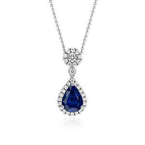 NOUVEAU Pendentif goutte diamant et saphir en or blanc 18carats (3,00ct au centre)