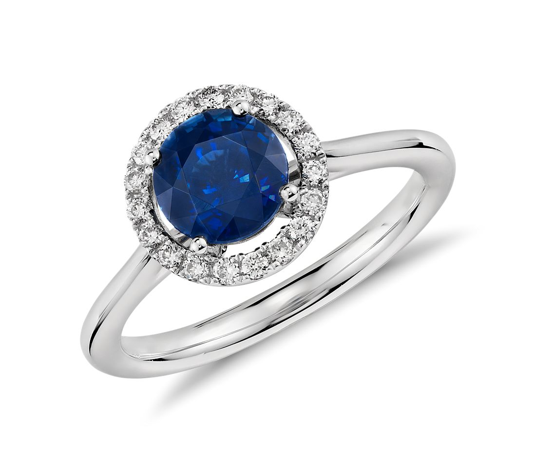 Floating Sapphire and Diamond Round Halo Ring in 14k White Gold 6mm