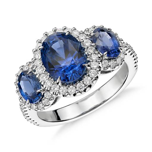 NEW Three Stone Sapphire and Diamond Halo Ring in 18k White Gold (4.30 ct. tw.)