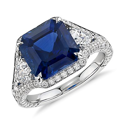 NEW Emerald-Cut Sapphire and Diamond Halo Ring in 18k White Gold (5.10 ct. tw. center)