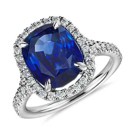 Oval Sapphire and Diamond Halo Ring in Platinum  (6.34 ct. center)