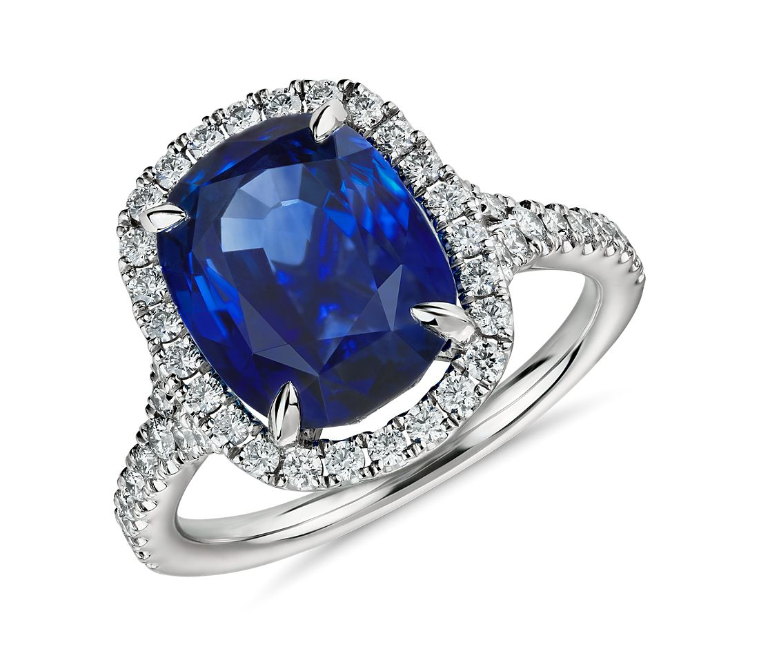 Oval Sapphire and Diamond Halo Ring in Platinum  (6.34 ct.)