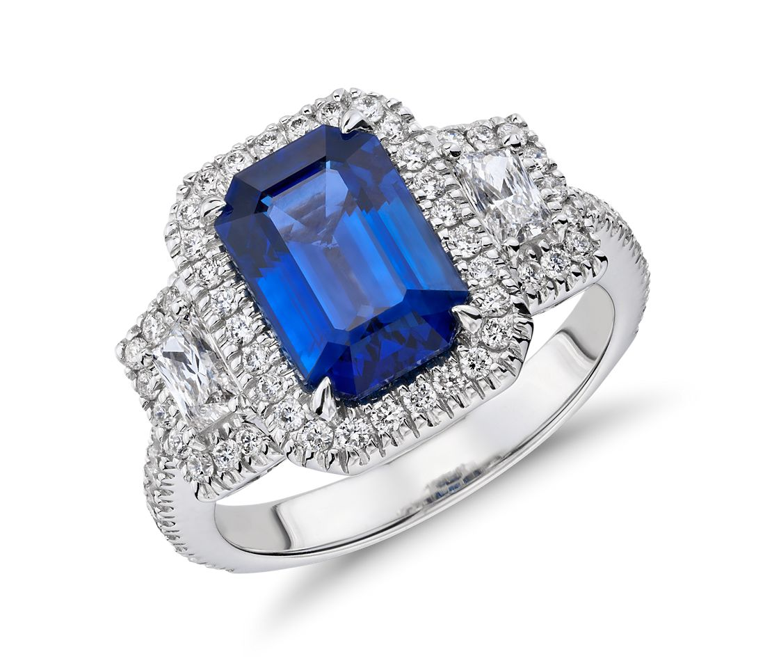Emerald Cut Sapphire and Diamond Three-Stone Ring in 18k White  Gold
