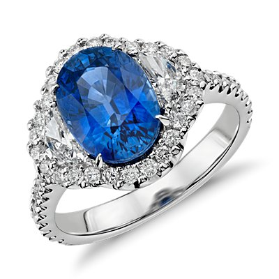 Blue Sapphire and Diamond Halo Three-Stone Ring in 18k White Gold (3.86 cts) (10x7mm)