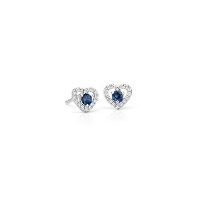 Petite Sapphire and Diamond Pavé Heart Stud Earrings in 14k White Gold (2.5mm)