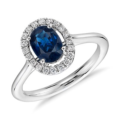 Floating Oval Sapphire and Diamond Micropavé Diamond Ring in 14k White Gold (7x5mm)