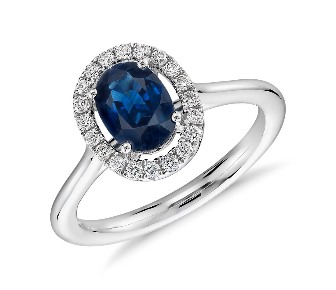 Floating Oval Sapphire and Diamond Micropave Diamond Ring in 14k White Gold (7 x 5)