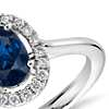 Floating Oval Sapphire and Diamond Micropavé Diamond Ring in 14k White Gold (7 x 5)