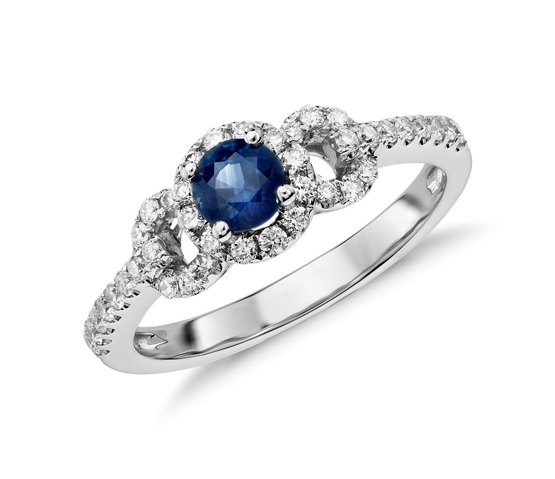 Sapphire and Diamond Micropave Ring in 14k White Gold
