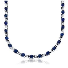 Collier en diamants et saphir bleu en Or blanc 18 ct (5x4mm)