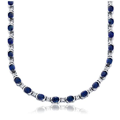 Sapphire and Diamond Necklace in 18k White Gold (5x4mm)