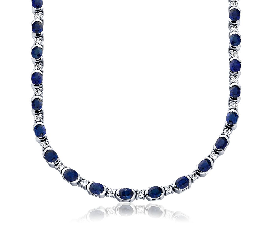 Collier en diamants et saphir bleu en or blanc 18 carats (5 x 4 mm)