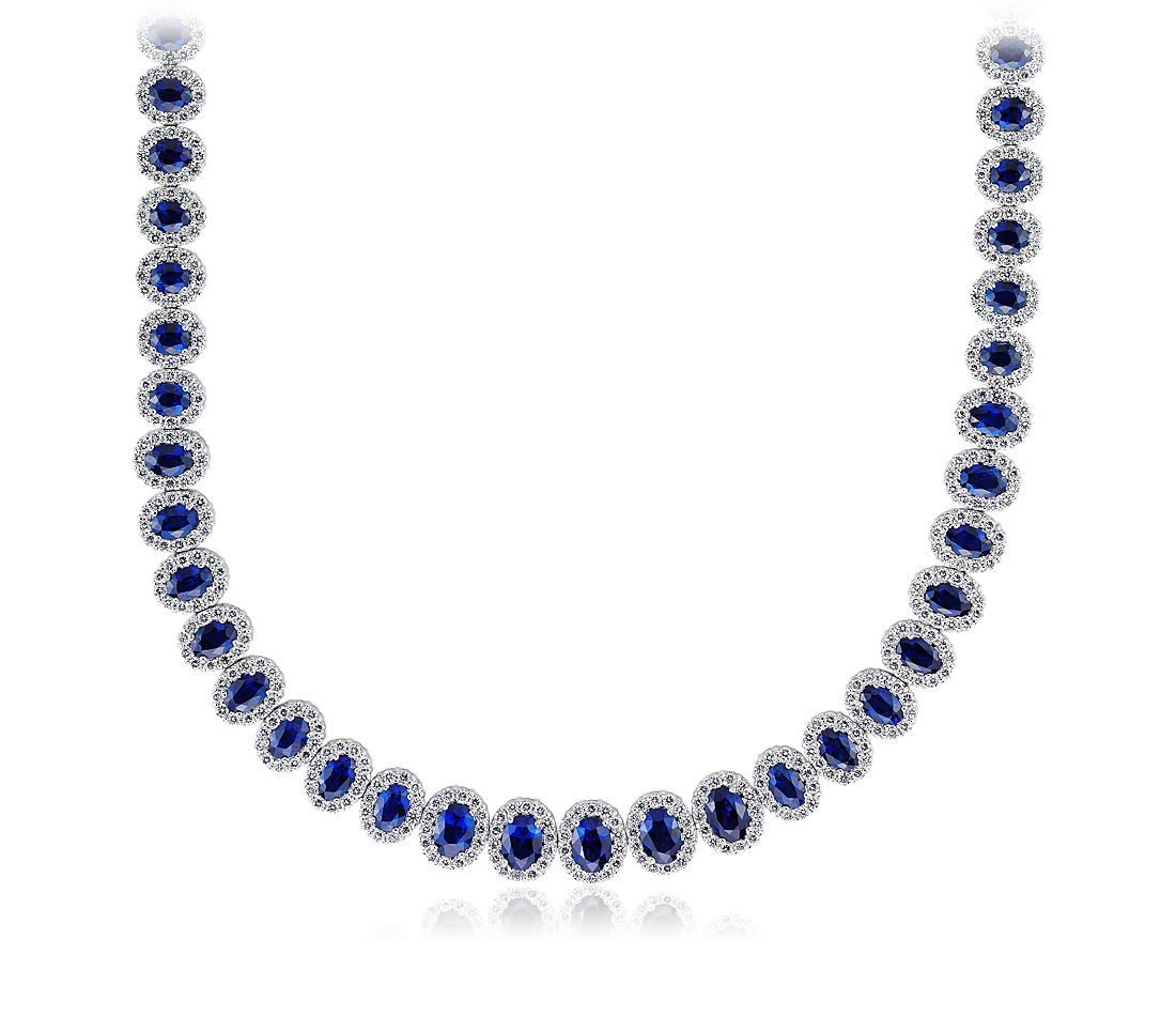 Sapphire and Pavé  Diamond Necklace in 18k White Gold